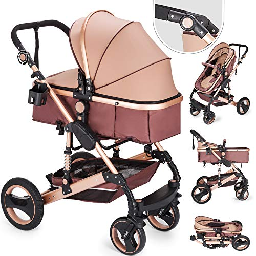 Husuper 2 en 1 Cochecito Bebé de de Alta Calidad Plegable Portátil Ligero Amortiguador Ajustable con Carro Multiuso para Bebés Recién Nacidos Carrito con Capazo Cuna para Bebé Oro