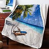 Sherpa Fleece Throw Blanket- Summer Ocean Beach Scene Island Sand Tropical Palm Tree Blue Sky Fluffy Super Soft Microfiber Blanket Fuzzy Blanket for Couch Bed Sofa,