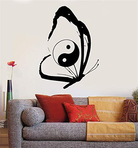 Vinyle disant lettrage mural art signe de citation inspirant décor de mur papillon chinois Yin Yang Tao taoïsme Zen
