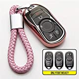 ZYYSK Para Opel Astra para Buick Encore Envision Gl6 Gl8 Nuevo Lacrosse Excelle Regal Verano TPU Car Key Cover Case Holder Accesorios para Coche,Pink with Holder