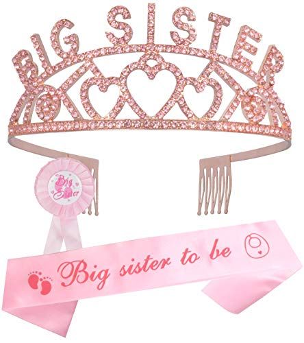 Big Sister Big Sister Crown Sash and Pin, I am Going to be Big Sister Tiara, Daughter Get Promoted...