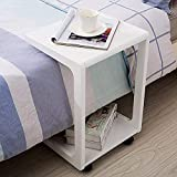 N&W Modern Cabinet with Roll Bar Trolley Solid Wood Coffee Table Living Room Furniture Bedside Snack Table Organizer Wheels
