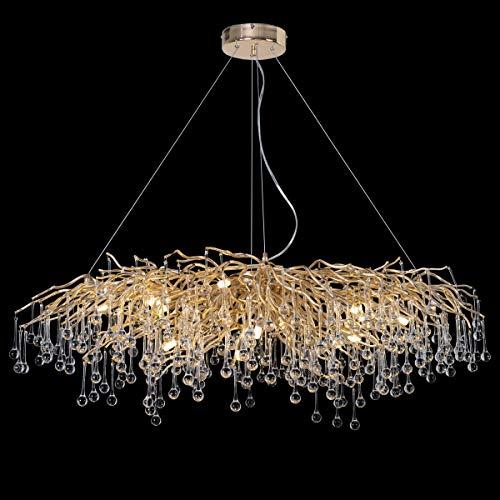 ANTILISHA Modern Crystal Chandelier Rectangle Gold Branch...