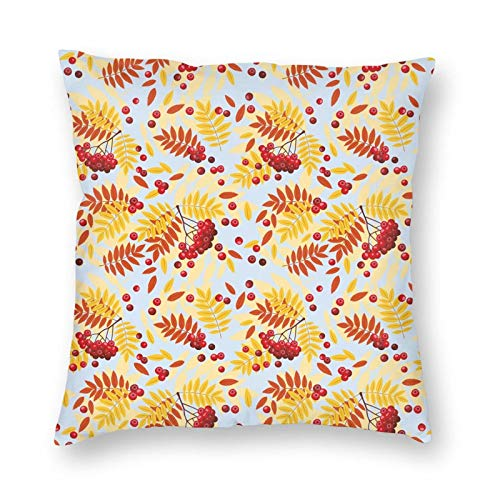 Decorative Cushion Covers with Ripe Rowan Bunch of Berries with Falling Dried Leaves Fall Nature Theme,for Sofa Office Decor Cotton and Linen Cushion Covers 20*20Inch