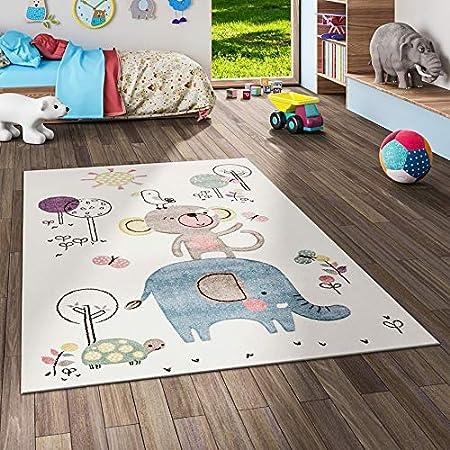 Dimension:/Ø 120 cm Rond Tapis Chambre Enfant Adorable Montgolfi/ère Nuages Joyeux Animaux Pastel en Cr/ème