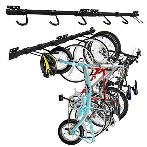 bigzzia Bike Storage Rack Holds 5 Bicycles Adjustable Wall Mounted Bike Hanger Holder Bicycle Storage Rack for Home & Garage,2 Pack
