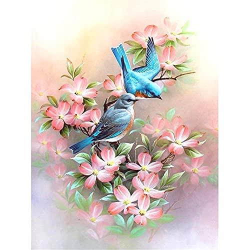5D DIY diamante pintura completos Kits Flores y pájaros artísticos completo para adultos y niños Arte de diamante redondo perfecto para la relajación decoración de la pared del hogar 80x100cm U1593