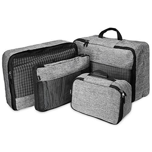 ProCase 4 Set verpakkingsblokjes voor reizen, lichtgewicht compressie multifunctionele reisbagage organisatoren met een extra toilettas – grijs