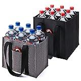 kalidi lot de 2 sacs de transport pour 6 bouteilles - avec compartiments - noir