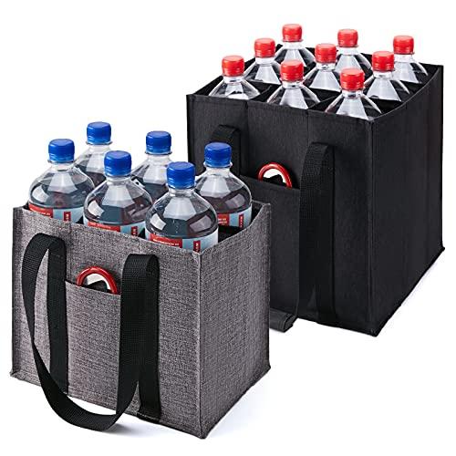KALIDI 2 bolsas para 6 botellas, 9 botellas, bolsa para hombre, para 6 botellas, cesta para botellas, soporte para 9 botellas, bolsa con separadores, color negro