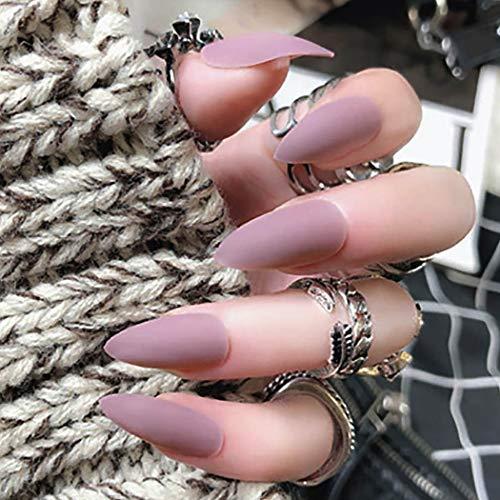 Brishow Künstliche Fingernägel, verschiedene Farben, scharfe Kunstnägel, Salonqualität, volle Abdeckung, lang, matt, Mandelfarben
