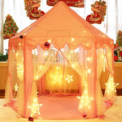 キッズテント女の子のおもちゃハウス可愛い子供用テントハウスプリンセスの城型折り畳み式キラキラLEDスターライト付き知育玩具秘密基地室内遊具簡単に組立お誕生日出産祝いクリスマスプレゼントおままごとMonobeach(ピンク)