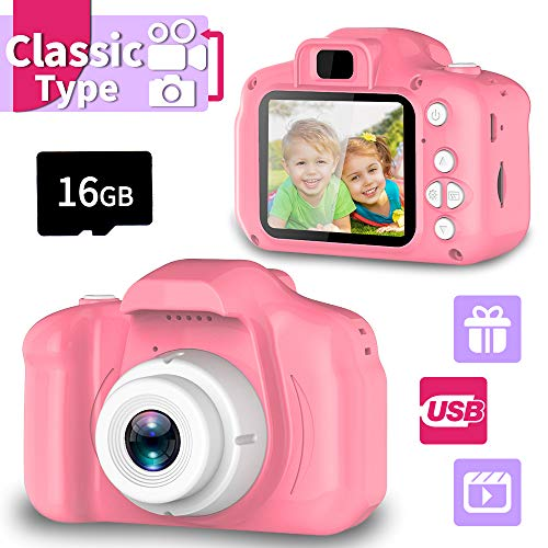Seckton Classic Kids Camera, Best Birthday Gifts for Boys Age 3-9, HD Digital Video Cameras for Toddler, Portable Toy for 3 4 5 6 7 8 Year Old Boy with 16GB SD Card-Pink