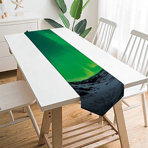 by Unbranded Camino de mesa de 200,7 x 33 cm, decoración de mesa para el hogar, decoración de la naturaleza, turquesa, aurora borealis, decoración de mesa para bodas, cocina, comedor, fiesta festiva