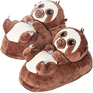 corimori 1847 - Cute Animal Plush Slippers Non-Slip Warm House Shoes Henry the Sloth, Adults - One Size 3 - 11, Brown