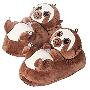 corimori 1847 (10+ Designs) Sloth Henry Cute Plush 3D Animal Shaped Slippers, Funny Lounge Shoes, Womens Sizes 4-13
