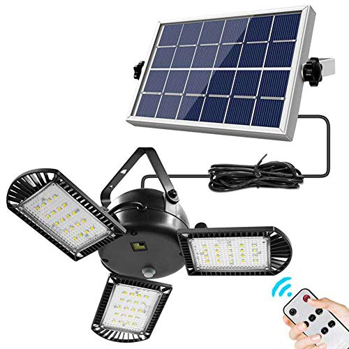 Solar Lights Outdoor, 3 Leaf Solar Pendant Light with Adjustable Multi-Position Panels, 60 LED IP65 Waterproof Solar Lamp with Remote Control, for Garage, Deck, Fence, Patio, Shed, Tent (Three Leaf)
