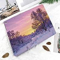 IPad Pro 11 ケース 2018新モデル対応 二つ折スタンド保護ケース iPad Pro 11インチ 専用カバー オートスリープ機能付き 手帳型 タブレットカバー夕焼けと凍った木々のある冬景色アイス天気ブリザードコールドデイズイメージ