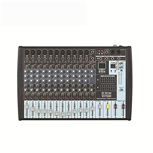 DJ Controller Power Mixer 12-Kanal Professionelle Pure-Station mit MP3-16 Arten von DSP-Effekten mit 7-Band Balanced Tuner-Unterstützung USB / SD-Karten-Schwarz All-In-One Deck DJ Controller für Serat