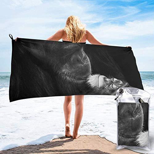 Toalla de Playa 27.5 'X 55',Chimpanzee Baby Love Arena Ultra Suave Microfibra Portátil Absorbente de Agua Microfibra múltiple Sin Arena Toalla de Playa Manta