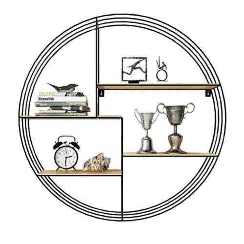 LH-Étagère à cadre Étagère murale ronde moderne métal fer et bois pour bar salon | LOFT - Étagère murale en forme de cube pour chambre à coucher comme étagère de rangement pour étagère | Cadre d'unité