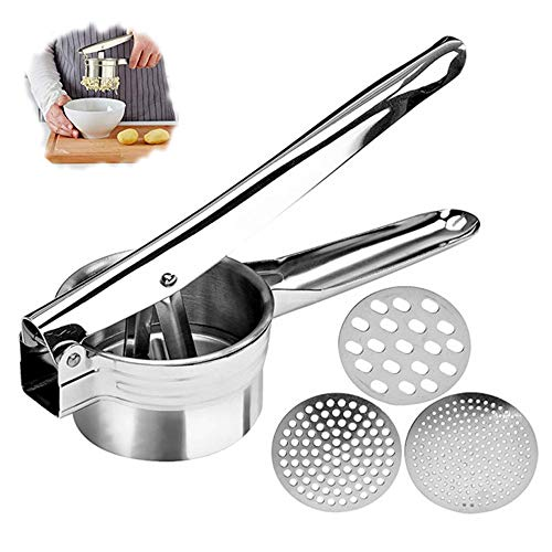 Professional Stainless Steel Potato Ricer, Potato Masher with 3 Ricing Discs for Coarse & Fine Ricing-Best Potato Press