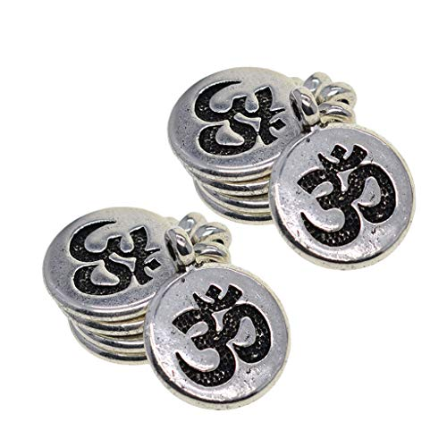 Baoblaze 30 Pezzi Ciondoli in Argento Tibetano Charms Artigianali per Produzione di Gioielli - Om