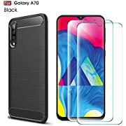 Abbeen Samsung Galaxy A70 Case and Screen Protector, [2 in 1] Ultra-Thin Carbon Fiber Anti-Drop TPU Soft Shell +9H Tempered Glass ,for Samsung Galaxy A70 Smartphone