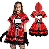 Mgichoom Disfraz de caperucita roja para mujer adulta disfraz de Halloween rojo juego de roles Oktoberfest traje sexy escenario disfraces cerveza camarero cosplay ropa