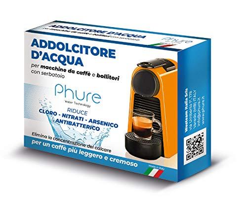 PHURE Addolcitore Acqua Antibatterico Filtro Anticalcare Universale per tutte le Macchine da Caffè e Bollitori, indicato per Nespresso (ADDOLCITORE D ACQUA)