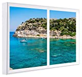 ccretroiluminados Bucht von Rhodos Griechenland Wandbilder falschen Fenster mit Licht, Holz, mehrfarbig, 80x 60x 6.5cm