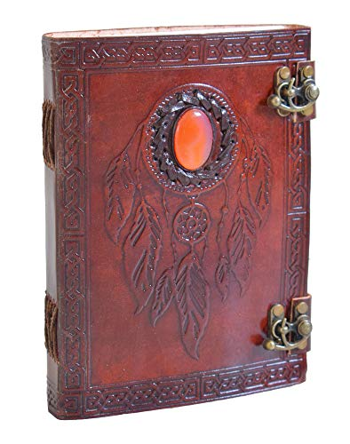 Handmade Vintage Leather Journal Notebook - Dream Catcher Genuine Leather Bound Daily Notepad Paper For Men & Women