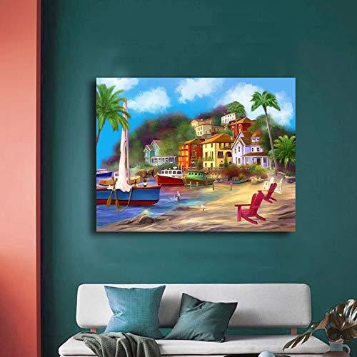 Puzzle 1000 piezas Casa de playa escénica puzzle 1000 piezas paisajes Rompecabezas de juguete de descompresión intelectual educativo divertido juego familiar para niños adulto50x75cm(20x30inch)