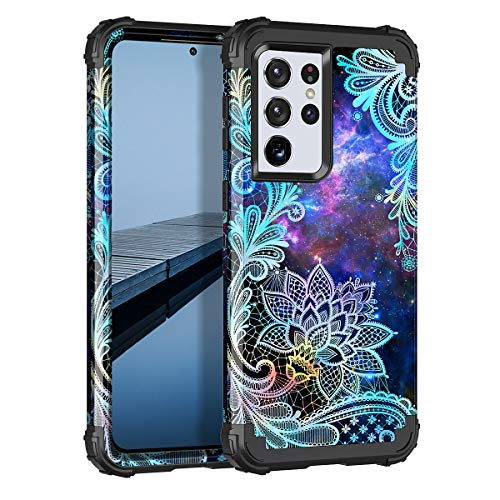 Casetego Compatible with Galaxy S21 Ultra 5G Case,Floral Three Layer Heavy Duty Sturdy Shockproof Soft TPU+Hard PC Protective Cover Case for Samsung Galaxy S21 Ultra 5G 6.8 inch,Blue Mandala