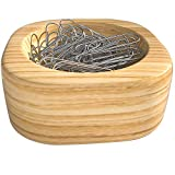 Beech Wood Paper Clip Holder, Paper Clips are Included in Package