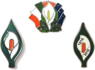 The Gents Cave Irish Ireland Easter Lily Pin Badge,1916-2016, 3 Pack Set, by