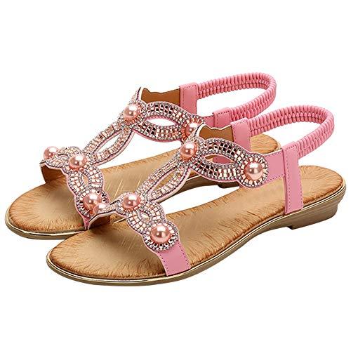 Bigtree Sandalen für Damen Bohemian Zehe öffnen Elastischer Knöchelriemen Sommer Strand Flache Mini Wedge Flip Flops Rosa 36 EU