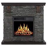 Xbeauty Electric Mantel Fireplace Stone, Retro Style, TV Stand Free Standing Electric Fireplace, Adjustable Led Flame, Remote Control, 750W/1500W
