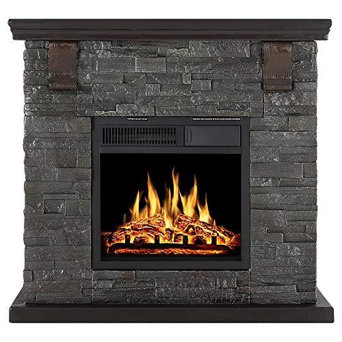 Xbeauty Electric Mantel Fireplace Stone, Retro Style, TV Stand Free Standing Electric Fireplace, Adjustable Led Flame, Remote Control, 750W/1500W(Brick)