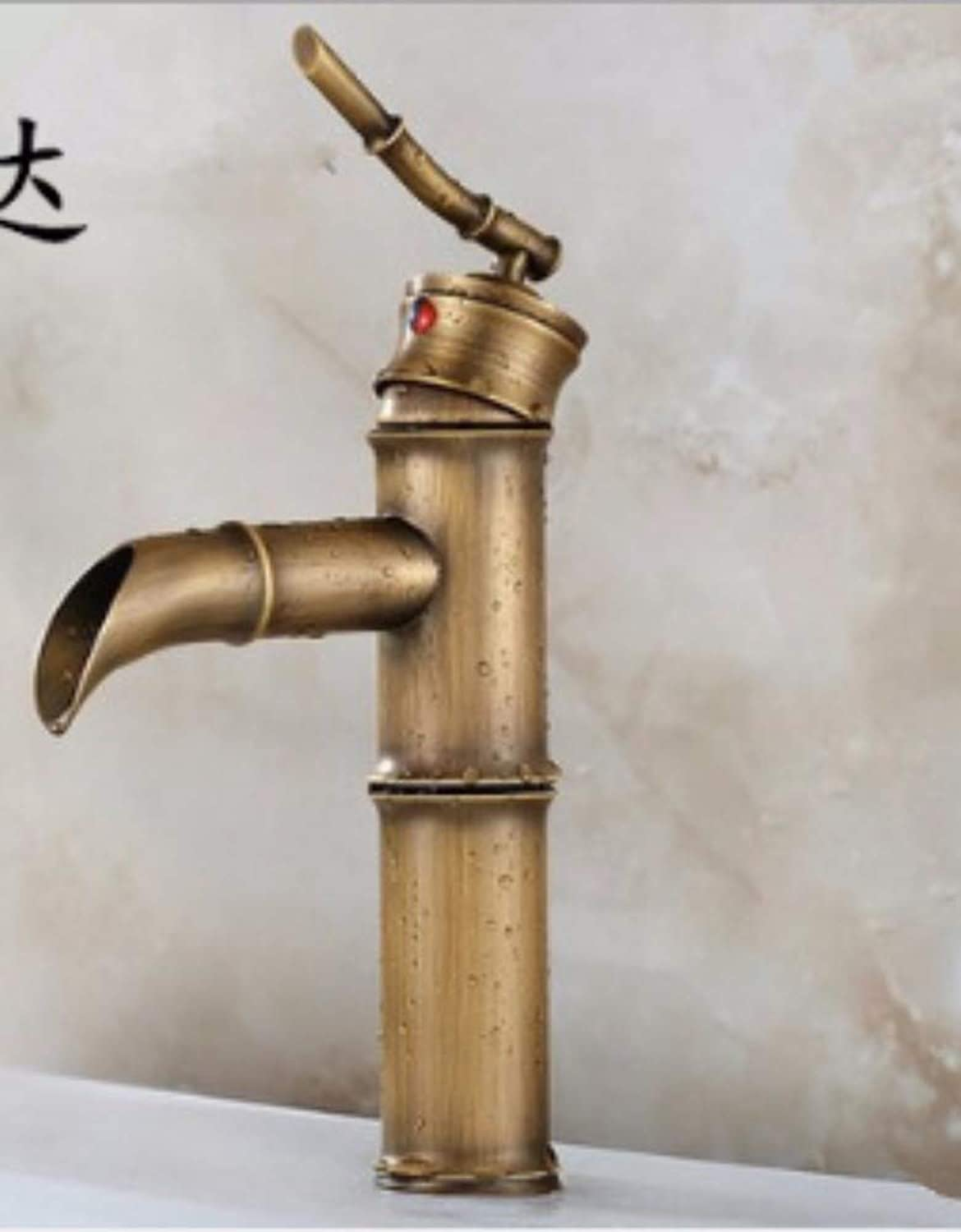 Faucet Retro Drawing European Style Brass Faucet With Waterfall And Hose Pure Copper Vintage Curve High-End Water Tap Washbasin Mixer Basin Sink Bathroom Single Spout 1 Lever Handle