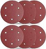 TACKLIFE Dischi Abrasivi, 30 Pezzi 225mm Dischi Carta Abrasiva per Levigatrice a Muro, 6 Fori, Grana 80, 100, 120, 180, 240, 320, ASD5A