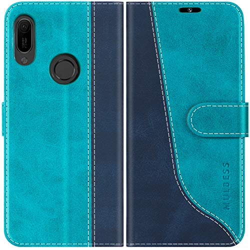 Mulbess Custodia per Huawei Y6 2019, Custodia Honor 8A, Cover Huawei Y6 2019 Libro, Custodia Huawei Y6 2019 Pelle, Flip Cover per Huawei Y6 2019 Portafoglio, Blu Mint
