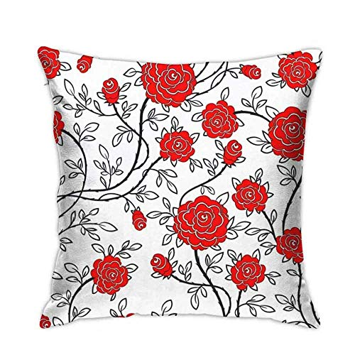 huatongxin 18in*18in Romantic Rose Flower Pattern sofa bed home car decoration pillow case cushion cover