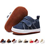 ENERCAKE Baby Boys Girls Shoes 100% Leather Anti-Slip Buttom Infant Sneakers Newborn First Walker Crib Shoes(6-12 Months Infant, K-Jeans)