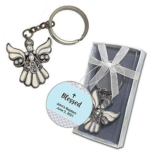 40 Guardian Angel Keychain Religious Christening Baptism Communion Party Favors
