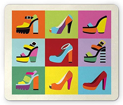 Mode muismat, Retro Funky Stiletto hakken en wig schoenen ontwerp in Pop Art stijl kleurrijke tegels, standaard formaat rechthoek anti-slip rubber muismat, Multi kleuren