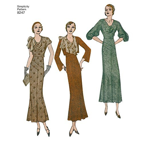 Simplicity Pattern 8247 R5 Misses' 1930's Dress and Jacket, Size: R5 (14-16-18-20-22)