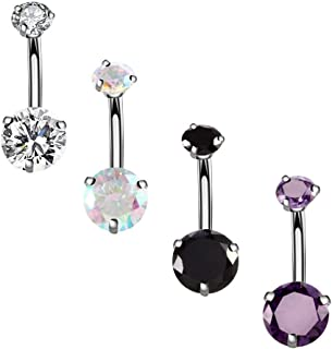 YHMM 14G Surgical Steel Belly Button Rings Round Cubic Zirconia Navel Barbell Stud Body Piercing 2-6 Pcs