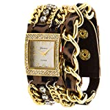 Geneva Platinum 12956612 Women's Rhinestone Studded and Chain Simulated Leather Watch-LEOPARD/GOLD