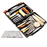 50 Pieces Leather Working Tools and Supplies with Leather Tool Box Prong Punch Edge Beveler Wax Ropes Needles...